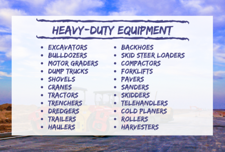 heavy duty equipment type list