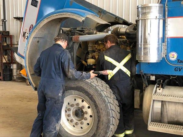 Heavy Truck Being Repaired At Major Overhaul In Edmonton